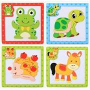 Set 4 mini puzzle magnetic 3D din lemn cu animale
