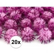 Geen 20x roze knutsel pompons 20 mm