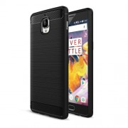 OnePlus 3T Brushed Texture Carbon Fiber TPU Rugged Armor Protective Case(Black)