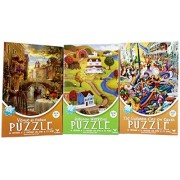 New Americana Venice Jazz Puzzles - Beautiful Colorful 500 Piece Jigsaw Puzzle 3-Pack – The Greatest City In The World – Autumn Weekend – Venice al Fresco - 14 by 11 inches - Picture Folk Art