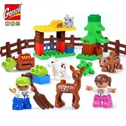 Generic GOROCK Happy Farm Figures Blocks Happy Zoo with Animals Building Blocks Set for Kids DIY Gifts Compatible with Duploe Baby Toys LD1001GR
