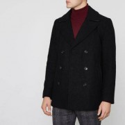 River Island Mens Black double breasted wool blend peacoat