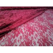 Csipke textil - méteráru 150 cm széles elasztikus - bordó virágos
