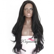 Sellers Destination Synthetic Lace Front Wig for Women Natural Wave Long Wigs Heat Resistant Fiber Hair Black 24 INCH