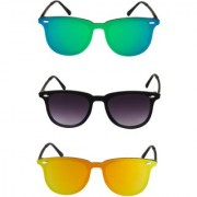 THEWHOOP UV Protected Mercury Green Black And Orange Rectangular Sunglasses For Men's and Women's Sunglasses