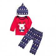 Wondere Newborn Baby Girls Boys Christmas Letter Deer Cotton Blend O-neck Outfit Clothes 3Pcs Tops+Pants Set (18Month(Size:100), Red)