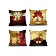 Rosegal Taie d'Oreiller Décorative de Noël Motif de Nœud Papillon 4 Pièces Largeur 24 x Longueur 24 pouces