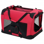 [pro.tec]® Kisállat hordozó szállító táska box M 60 x 42 cm piros kutya macska