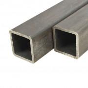vidaXL Tuburi oțel structural 2 buc. 60x60x2mm secțiune pătrată 2m