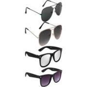 Richfashion Aviator, Retro Square Sunglasses(Black, Silver, Violet)