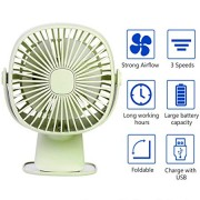 USB Table Fan Clip on & Desk Personal Fan, LED Lamp Function, 360 Degree Rotation, 3 Speeds Adjustable, Rechargeable Battery Electric Fan for Car, Stroller, Office, Bedroom, Traveling, Fishing - Green