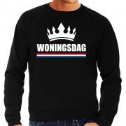 Bellatio Decorations Woningsdag sweaters / trui voor thuisblijvers tijdens Koningsdag zwart heren