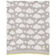 The Bonnie Mob Stars and Clouds Jacquard Baby Blanket Grey