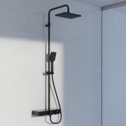 Steinberg Serie 390 Brauseset mit Thermostat, Umsteller und Glasablage, schwarz matt, 3902700S 3902700S