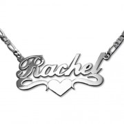 Personalized Men's Jewelry Double Thick Sterling Silver Heart Name Necklace 101-01-056-04