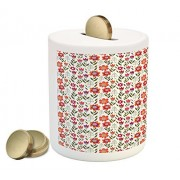 Floral Piggy Bank by Lunarable, Poppies and Tulips Botanical Spring Garden Art Pattern Inspired by Fifties Style, Printed Ceramic Coin Bank Money Box for Cash Saving, Multicolor