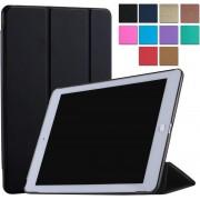 DrPhone Smart Tri-Fold Hoes iPad Pro 9.7 inch Luxe Zwart Leer Hoesje Smart Cover - Book Case (Flip Cover) - Bescherming voor Voor- en Achterkant (Zwarte Leren)