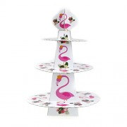 Tradico® 1set Three Layers Flamingo Cake Stand Dessert Stands Birthday Party Favor