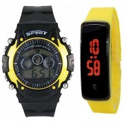 New-Generation-Watch-Unisex-Sport Yellow Silicone-Digital-Led- Yellow Bracelet-Band-Watch For Boys And Kids