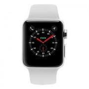 Apple Watch Series 3 Edelstahlgehäuse 38mm silber mit Sportarmband weiß (GPS + Cellular) edelstahl silber
