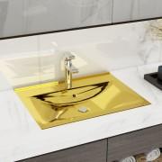 vidaXL Lavabo avec trop-plein 60x46x16 cm Céramique Doré