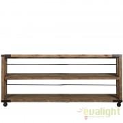 Raft design industrial metal, lemn de ulm reciclat, roti metalice Narva 17641 VH
