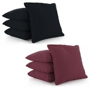 Cornhole Bags Set of 8 by Tailor Spot Corn-Filled ACA Regulation 25+ Colors (Black-Burgundy)
