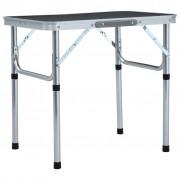 vidaXL Mesa de campismo dobrável 60x45 cm alumínio cinzento