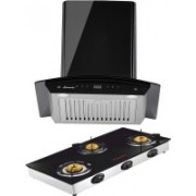 Butterfly Matchless Plus 60 Jet 3 Burner Wall Mounted Chimney(Black 1100 CMH)