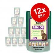 12х85г Adult Senior Wellbeloved, консервирана храна за котки, с агнешко