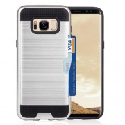 For Samsung Galaxy S8 Plus with credit card slot holder TPU+PC mobile phone covers (Silver)