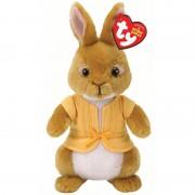 Ty Beanie Pluche bruine Pieter Konijn Mopsie konijn/haas knuffel 15 cm
