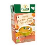 Supa Crema cu Linte Rosie, Lapte de Cocos si Curry Bio 1L Primeal
