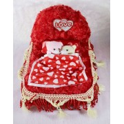 Beautiful Red Royal Plush Bed with Love Couple Teddy Bears