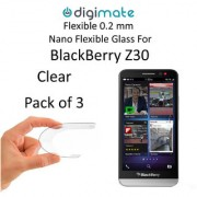 Digimate Nano Clear 0.2 mm Screen Guard Protector Flexible Glass for Blackberry Z30 (Pack of 3)