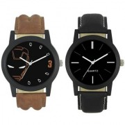 R P S fashion new look black brown leathers strap to combo pack of 2 men watch