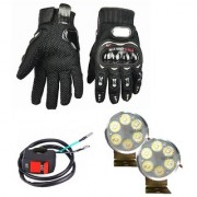 Autosky Combo of Pro Biker Gloves And 6 Led Fog Light For All Bikes With On Off Switch