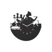 Relógio de Parede Decorativo, Modelo Mestre Cuca Me Criative RPD Preto Pacote de 1