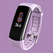 LEMONDA Smart Watch C6T 0.96'' Color Screen Temperature Monitoring HR Bracelet - Light Purple