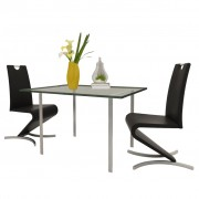 vidaXL Dining Chairs 2pcs Cantilever H-shaped Artificial Leather Black