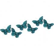 Decoris 6x Decoratie vlindertje turquoise blauw/wit 9 x 16 cm op ijzerclip