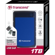 "Eksterni hard disk ''HDD External 2.5"" 1TB Transcend TS1TSJ25H3B, 5400 8MB USB3.0/antishock"