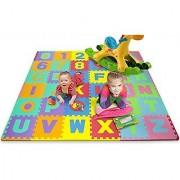 Matney Foam Mat of Alphabet and Number Puzzle Pieces with Borders Included- Great for Kids to Learn and Play - 36 Tile P