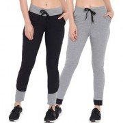 Cliths Black And Grey Cotton Trackpants/ Western Lower For Women/Girls- Pack Of 2