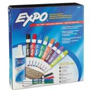 Low-Odor Dry Erase Marker, Eraser & Cleaner, Chisel/fine, 12/set