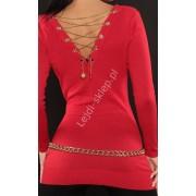 Lejdi Czerwony sweter zdobiony złotym łańcuszkiem na plecach sweter damski