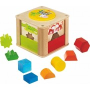 HABA Zookeeper Wooden Shape Sorting Box with a Twist - Explore Whole and Half Shapes - 12 Months +