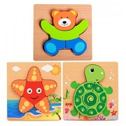 Hillento Wooden Puzzles for Toddlers Kids Girls Boys Babies - Educational Puzzle Toys Set, Colorful Solid Wood Pieces. Educational & Sensory Learning for Toddlers, Set of 3 (Starfish, Turtles, Bear)