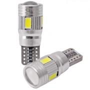 Ampoule T10 LED 3D 6 SMD- Anti Erreur OBD - Culot W5W - Blanc Pur