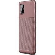 Teleplus Samsung Galaxy A71 Case Negro Matte Silicone Brown + Full Cover Screen Protector hoesje